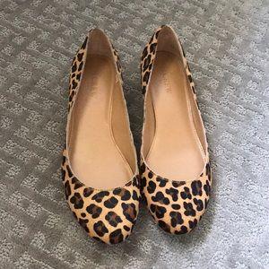 J. Crew Calf Hair Leopard Heeled Loafers 7.5